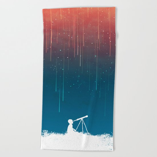 Meteor Rain (light version) Beach Towel
