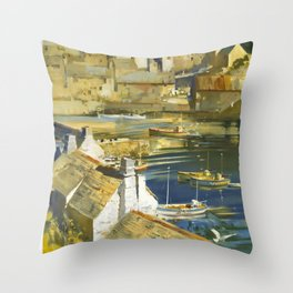 Cornwall Travel Poster Throw Pillow