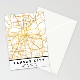 KANSAS CITY MISSOURI CITY STREET MAP ART Stationery Cards