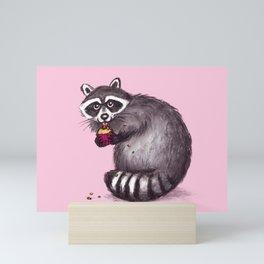 Raccoon with Cupcake Mini Art Print