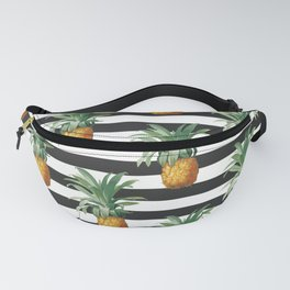 Pineapples Grey Stripes Chic Fanny Pack