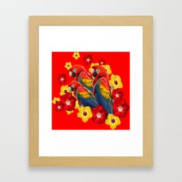 TROPICAL BLUE MACAWS & RED YELLOW HIBISCUS RED ART Framed Art Print