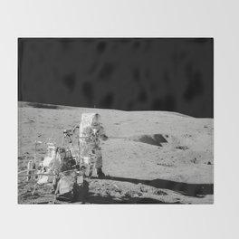 Apollo 14 - Black & White Moon Work Throw Blanket
