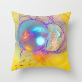 Planetary creation in yellow space Throw Pillow