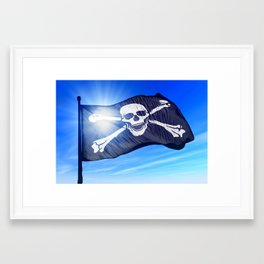 Pirate skull and crossbones flag waving on the wind Framed Art Print