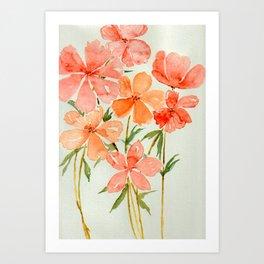 Peach & Orange Blossom Flowers - Watercolor Floral Art Art Print