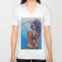 mirror V-neck T-shirts featuring Mirror by Katy Dai