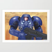 starcraft Art Prints featuring Space Marine by Tomcii