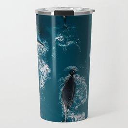 Humpback whales in the arctic ocean - Wildlife Aerial Travel Mug