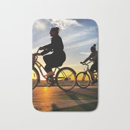 Cycling on sunset in Santa Monica, California, USA Bath Mat