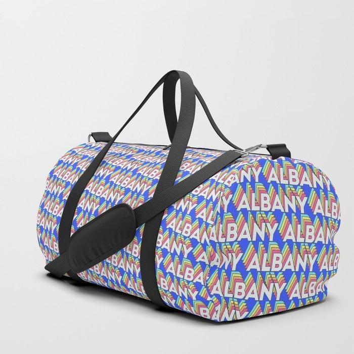 Albany, New York Trendy Rainbow Text Pattern (Blue) Duffle Bag