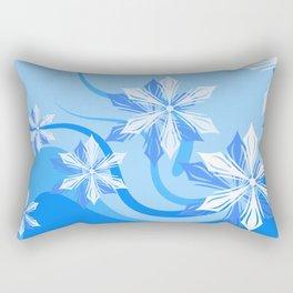 Winter Flower Blue Rectangular Pillow