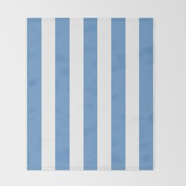 Livid turquoise - solid color - white vertical lines pattern Throw Blanket