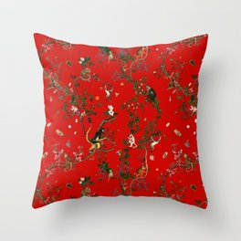 Monkey World Red Throw Pillow