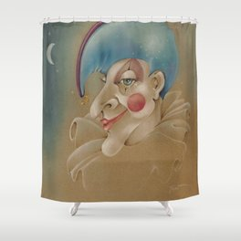 PUNCHINELLO JESTER COLORED PENCIL DRAWING Shower Curtain