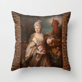 Nicolas de Largillire - Madame Titon de Cogny (Jeanne-Cecile le Guay de Mongermon) Throw Pillow