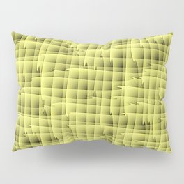 Square pastel curved stripes with interweaving of the bark of a yellow tree trunk. Pillow Sham