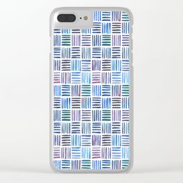 Lines in Blue Clear iPhone Case