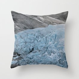 Blue Ice Glacier range in Norway - Landscape Photography Throw Pillow