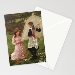 Two Sisters - The Kite Flyers by John Morgan Stationery Cards