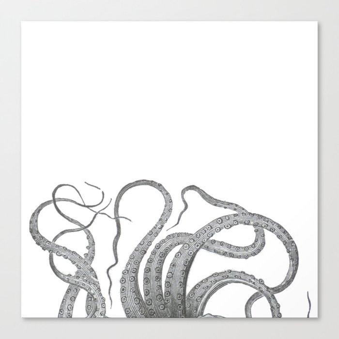 Vintage kraken octopus tentacles nautical antique sea creature steampunk graphic print Canvas Print