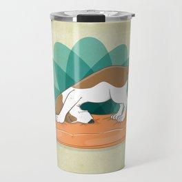 Basset Hound Downward Dog Travel Mug