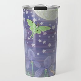 Moonlit stars, luna moths, snails, & irises Travel Mug