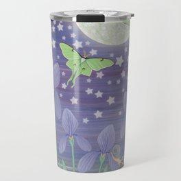 Moonlit stars, luna moths, snails, & irises Travel Mug
