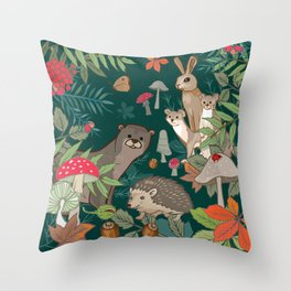 Animals In The Woods Throw Pillow