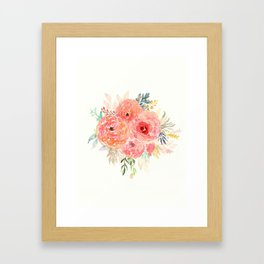 Pink Flower Bouquet Framed Art Print