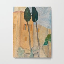 Amedeo Modigliani - Cypresses and Houses at Cagnes Metal Print
