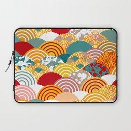 Nature background with japanese sakura flower, orange red pink Cherry, wave circle pattern Laptop Sleeve