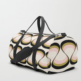 Olive Green, Pink, and Black Retro Wavy Line Pattern Duffle Bag
