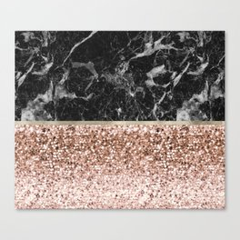 Warm chromatic - rose gold and black marble Canvas Print