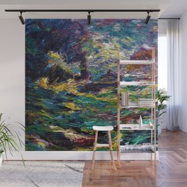 1910 Classical Masterpiece 'Ship on Stormy Seas' by Emil Nolde Wall Mural