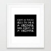 unicorns Framed Art Prints featuring unicorns! by sreysa'art
