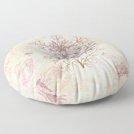 Vintage Flowers and Dragonflies Floor Pillow
