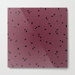 Red Plum and Black Grid - Missing Pieces Metal Print
