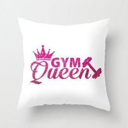 Gym Queen Faux Hot Pink Glitter Throw Pillow