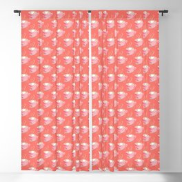 Pink cup of coffee pattern on coral background Blackout Curtain