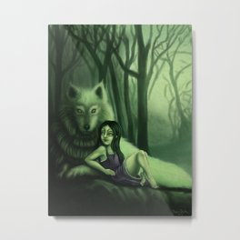 lil Mortcia and wolf Metal Print