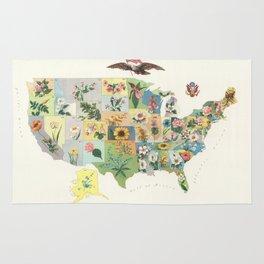 Vintage US State Flower Map (1911) Rug