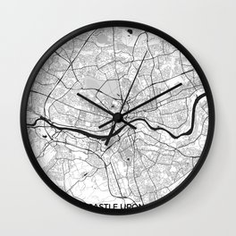 Newcastle upon Tyne Map Gray Wall Clock