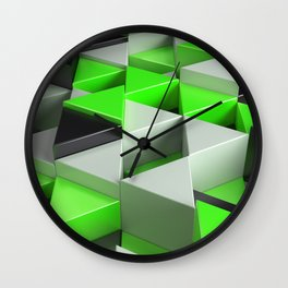 Pattern of black, white and green triangle prisms Wall Clock