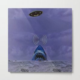Space creatures and strange shark;Not a movie Metal Print