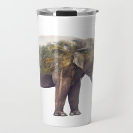 Double exposure of elephant and palm trees on white background Travel Mug