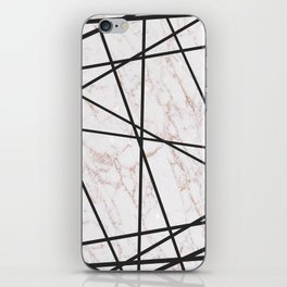 Geometrical black gold faux glitter white marble iPhone Skin