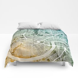 New Orleans Street Map Comforters