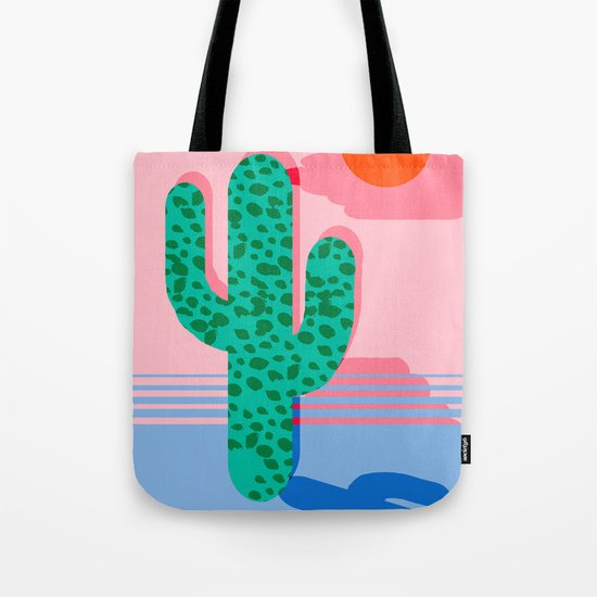 No Foolin - retro throwback neon art design minimal abstract cactus desert palm springs southwest  Tote Bag