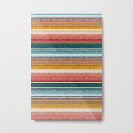 serape southwest stripe - orange & teal Metal Print